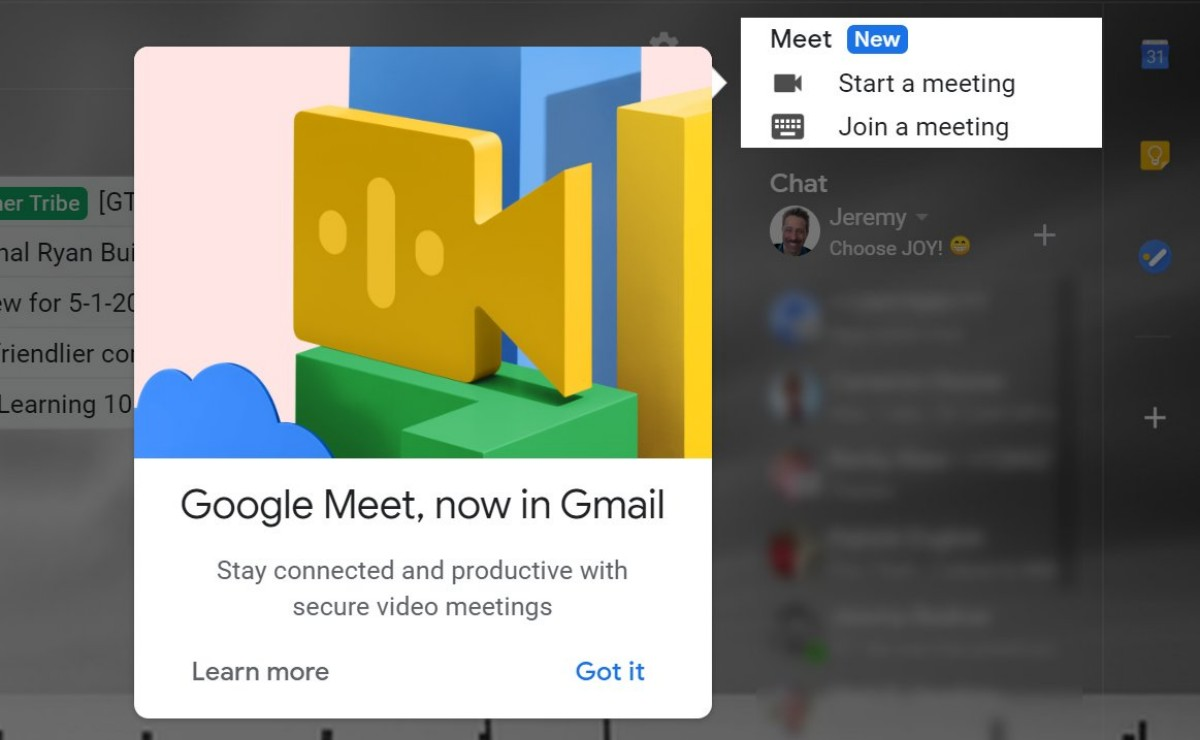 Photo of Google Meet starts appearing in Gmail sidebar